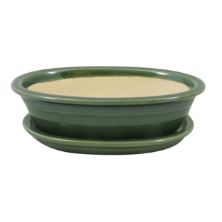 Miska na bonsai s podmiskou z kvalitnej keramiky s glazúrou.
